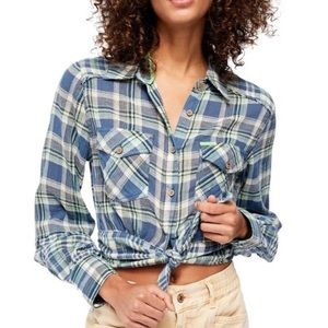 Free People First Bloom Plaid Button-Front Shirt